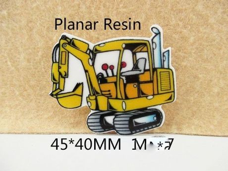 5 x 45MM DIGGER JCB LASER CUT FLAT BACK RESIN BOWS HEADBAND PLAQUES CARD MAKING LOOK SALE